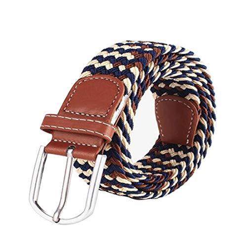Irypulse Cinturón Trenzado elástica de Lona Hombres Mujeres Cuero de PU Hebilla de aleación Hecha elásticos Tela para Tejido Estiramiento Cinturones de Unisex Multicolor