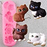 FGHHT 3D Cute Cat Silicone Molds Cupcake Topper Fondant Cake Decorating Tools Polymer ClayMold Candy Chocolate Gumpaste Moulds