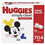 HUGGIES Simply Clean Baby Wipes Flip Lid Packs 704 Wipes Total, White, Unscented, 11 Count