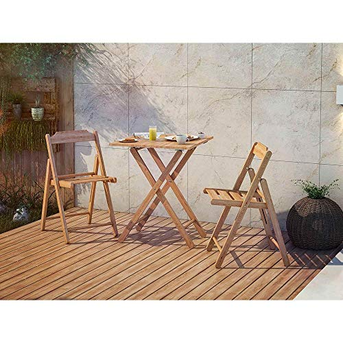 Dawsons Living Wooden Bistro Set - Premium Quality Teak Weatherproof Garden Furniture Set - Folding Table and 2 Chairs - Decking Patio and Balcony Set (Wooden)