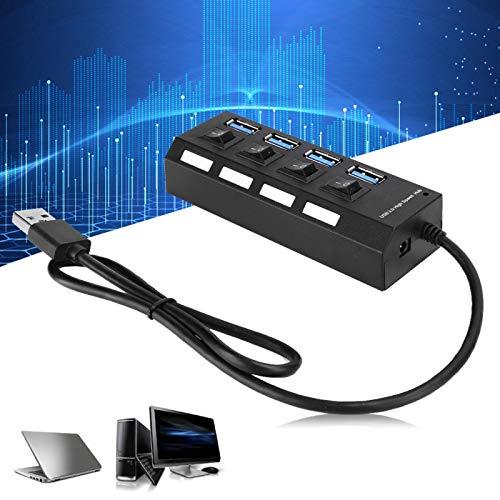 jadenzhou Hub USB 3.0, Divisor USB Multifuncional, Accesorios de computadora Protección contra sobrecorriente para computadora portátil de Escritorio con Interruptor de Encendido y Apagado