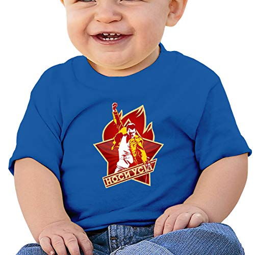 Baby Freddie-Mercury 2 Basic Short Sleeve T-Shirt,SOFE,Cotton,Memorial Gift Blue 6M