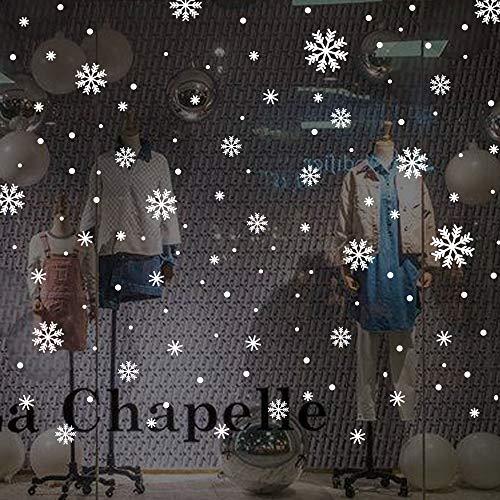 Fensteraufkleber Schneeflocken und Punkte - Wiederverwendbar – Schneeflocken Fensterbild, Fensterbilder Weihnachten Selbstklebend, Winter-deko Weinachts Dekoration, Weihnachten Fenstersticker (Weiß)