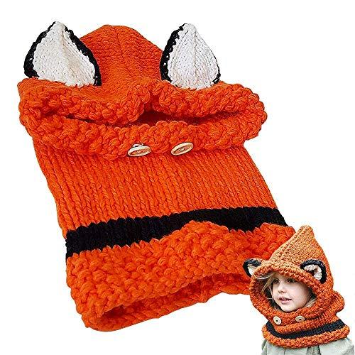 Baby Mütze Kleinkind Mütze Schal Set,Baby Hut Hut niedlichen Winter,Baby Mädchen Junge Kleinkind Wintermütze Schal Set,Orange im Fox-Stil