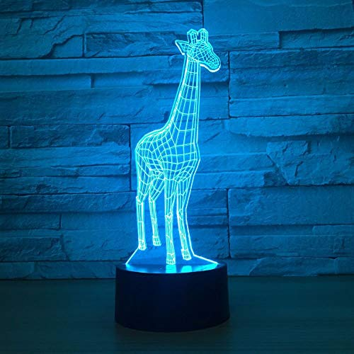 Aniamls Giraffe 3D Night Light Touch LED Table Desk Lamps 7 Color Changeable Desk Lamp Table Household Room Decoration GiftBirthday Gift Christmas Gift Toys for Children Kids