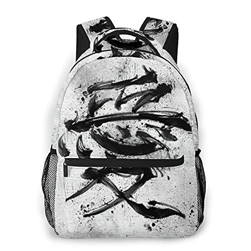 Zaino da viaggio per laptop,Personaggi cinesi,Amore,Pittura a inchiostro nero,Stile cinese,Grande Business resistente all acqua Antifurto Computer Daypack Slim Durable College School Bookbag