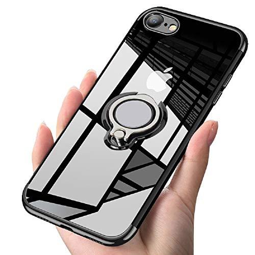 Preisvergleich Produktbild ATUSIDUN Transparente Schutzhülle für iPhone Slim 360° verstellbare Ringhalterung aus weichem TPU Dünn Anti-Kratzer Stoßschutz für magnetische Autohalterung,  iPhone 7plus / 8plus,  schwarz