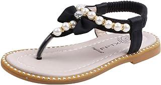 Fossen Zapatos de Princesas para Niña hinestone Perla Arco Sandalias Niños Niñas - Sandalias Niña Verano Playa Casual
