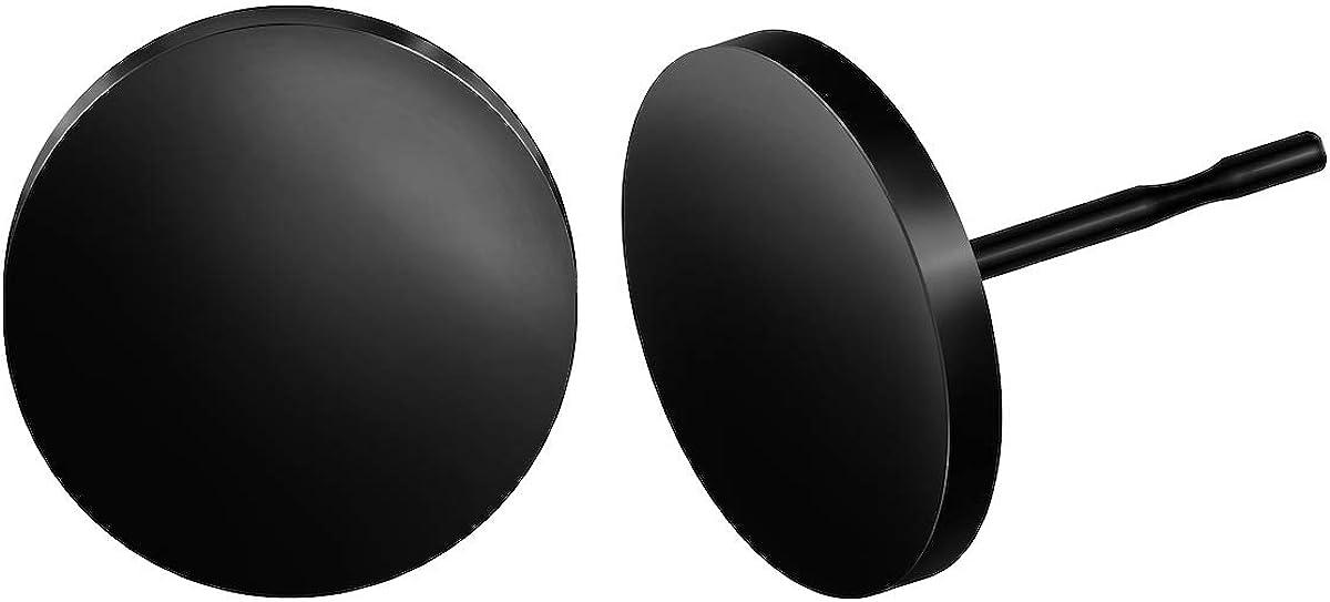 BEADNOVA Stud Earrings Flat Circle Dot Earrings Fake Plugs Stainless Piercing Post Earrings Fake Gauges for Men (2-10mm, Black, 1-3 pairs)