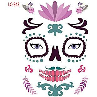 Skull Face Tattoo, Halloween Fashion Face Temporary Dead Tattoo Water Transfer Sticker - Unisex(LC-943)
