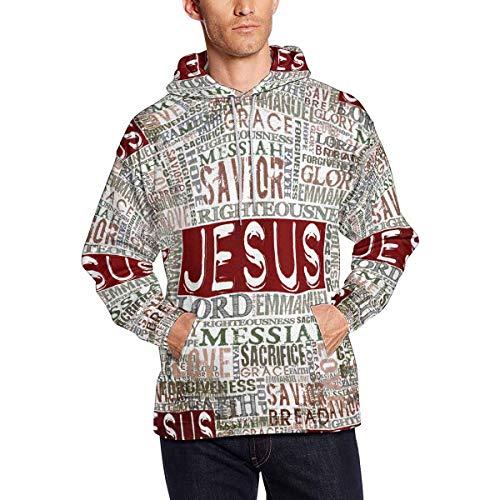 InterestPrint Vintage Jesus Religious Bible Verse Long-Sleeve All Over Print Men's Hoodie