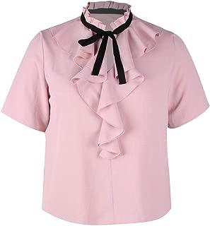 DADKA Womens Shirt Simple Solid O-Neck Ruffles Bow Tie Chiffon Short Sleeve T-Shirt Top Blouse