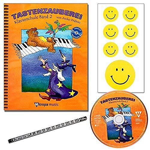 Mitropa musik TASTENZAUBEREI - mit CD + Piano-Bleistift + 7 lustige Smiley-Sticker - Klavierschule Band 2 von Aniko Drabon - der zauberhafter Einstieg ins Klavierspiel! [Spiralbuchbindung/Musiknoten]