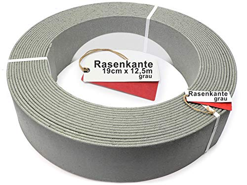 Rakaflex Stabile Rasenkante Beetumrandung Beeteinfassung Mähkante Profilkante (ca. 19 cm hoch x 12,5 m lang, Grau)