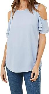 FRPE Women's Plus Size Ruffle Chiffon Cold Shoulder Top T-Shirt Blouse