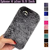 for Apple iPhone 6 Plus Case,6S Plus [5.5 inch] Case, Fast Jewelry Luxury Fur Bling Diamond Phone Cases Plush Hair Smooth Soft Fluffy Back Cover Case - Gray