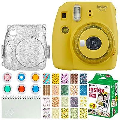 Fujifilm Instax Mini 9 Instant Camera + Fujifilm Instax Mini Twin Pack Instant Film (20 Exposures) + Glitter Hard Case + Colored Filters + Album (White) + Sticker Frames Nature Package from FUJIFILM