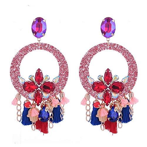 Large Round Pendients Colorful Tassel Earrings Crystal Stone Rhinestone Earring Wedding Earrings Jewelry Flash Red