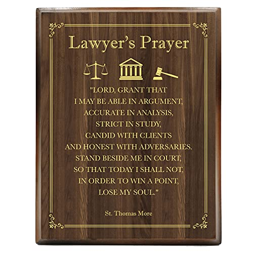 Yuzi-n Inspirational Quote Lawyer Engraved Gold Wood Plaque - Law School Gift - Lawyer Gift for Men Women Prayer- Law Office Wall Art - Gift for Law Students Lawyer Art