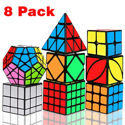 Speed Cube Set, Libay Magic Cube Bundle 2x2 3x3 4x4 Pyramid Megaminx Skew Mirror Ivy Sticker Cube Puzzle Collection Toy Puzzles Cube for Kids and Adults Set of 8