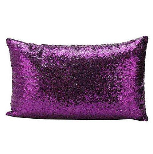 Saisiyiky Fodera per cuscino, con decorazione di paillettes, 30 x 50 cm 30 X 50cm porpora