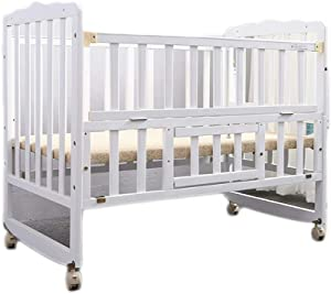 Wooden Baby Cot Bed Toddler Bed White Toddler Bed  Wood Kids Bedframe Children Classic Sleeping Bedroom Furniture With Safety Fence  Color White  Size 104 85cm