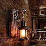 GJY Luz de Pared E27 Vintage Metal Metal Apláceado Lámpara de Pared Lámpara de Pared Decoración Del Hogar (Color: Marrón, Tamaño: 23 Cm)