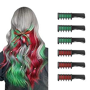 6 Piezas Hair Chalk Peine de Tiza para el Pelo para Niñas y Niños, de Color Brillante Temporal para Niños Niñas Regalos, Lavable, Tinte para el Pelo para, Cumpleaños, Cosplay, Fiesta(Verde + Rojo)