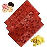 Molde Silicona 3pcs, moldes Gofres reposteria, Moldes Waffle ,18 cavidades antiadherentes de silicona bandeja para Chocolate,Galletas para Tarta Muffin Cocina Herramientas, para Horno,Refrigerador