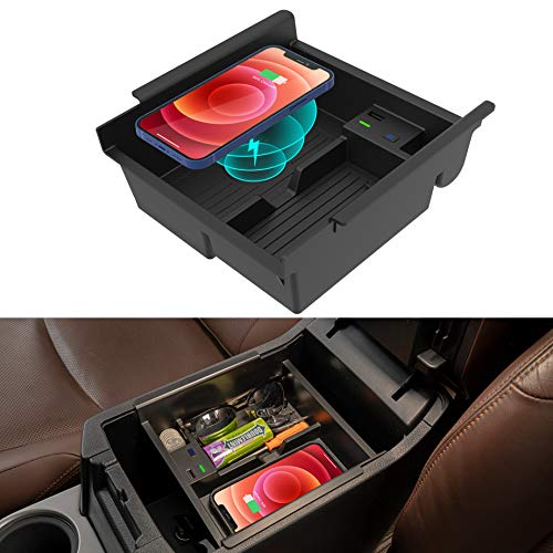 CarQiWireless 2021 Upgrades Wireless Charger/Center Console Organizer Tray for Toyota 4runner 2010-2021, Wireless Phone Charging Pad for Toyota 5th Gen 4runner SR5 TRD Truck Accessories 2010-2021