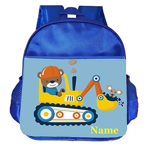 Rockin Wild Digger Truck Personalised Customised Kids Toddlers Nursery School Bag Backpack Blue