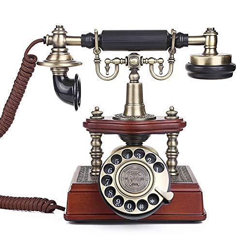 LZC Cable de Tela Giratorio Retro teléfono Fijo Oficina en casa Europeo Creativo de Alta Gama decoración del hogar de Madera Maciza