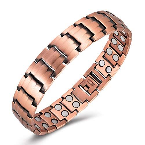 "Gioieiieria Men Copper Bracelet Magnetic Therapy Bracelet for Relieve Arthritis Pain 99.9% Copper Bracelet with 3500 Gauss Strong Magnets 9"" Link Adjustable"