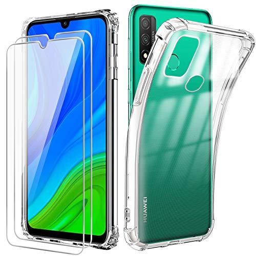Reshias Funda para Huawei P Smart 2020 con [2 Pack] Cristal Templado Protector de Pantalla, Suave TPU Transparente Gel Silicona Anti-caída Protectora Carcasa para Huawei P Smart 2020 (6.21 Pulgadas)