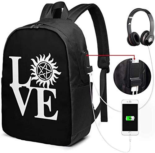 Love Anti Possession Symbol Reiserucksack, Business Laptop School Bookbag mit USB-Ladeanschluss & Kopfhöreranschluss Fit 17Inch