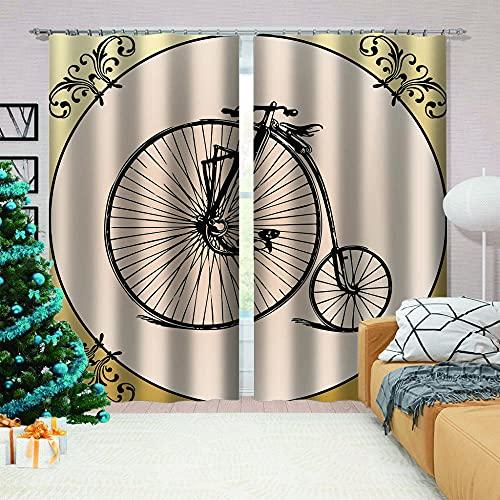 LJUKO Cortina Opaca en Cocina el Salon dormitorios habitación Infantil 3D Impresión Digital Ojales Cortinas termica - 183x214 cm - Circo Negro Bicicleta