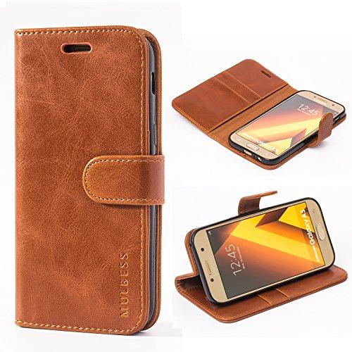 Mulbess Handyhülle für Samsung Galaxy A5 2017 Hülle, Leder Flip Case Schutzhülle für Samsung Galaxy A5 2017 Tasche, Cognac Braun