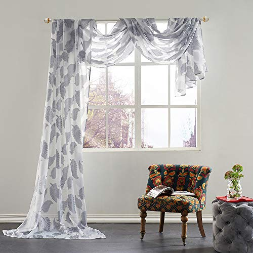Beautiful Leaves Jacquard Window Sheer Voile Scarf 1 Panel Curtain 52 by 216 Inches Long Grey