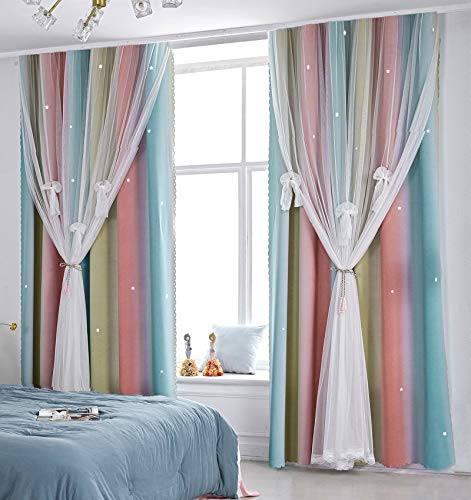 Yancorp Curtains for Girls Bedroom Kids Curtain Baby Nursery Hollow-Out Star Window Curtain 63 inches Length Room Darkening Grommet 2 Layers(Baby Pink Blue, W52 X L63)