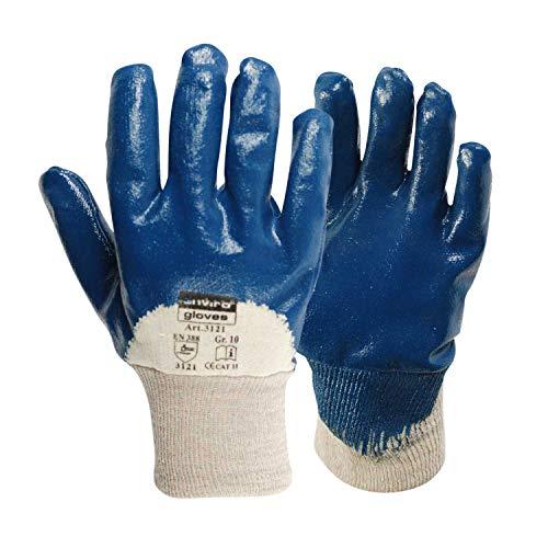 Enviro Glove 12x blauer Nitril-Handschuh - sehr flexible Arbeitshandschuhe - Öl- und Fett abweisend - Schutzhandschuhe nach Norm 388-3111 in Größe 10