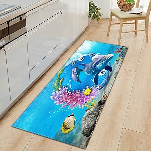 OPLJ 3D Underwater World Küchenmatte Eingang Fußmatte Schlafzimmer Bodendekoration Wohnzimmer Teppich rutschfeste Fußmatte A5 60x180cm
