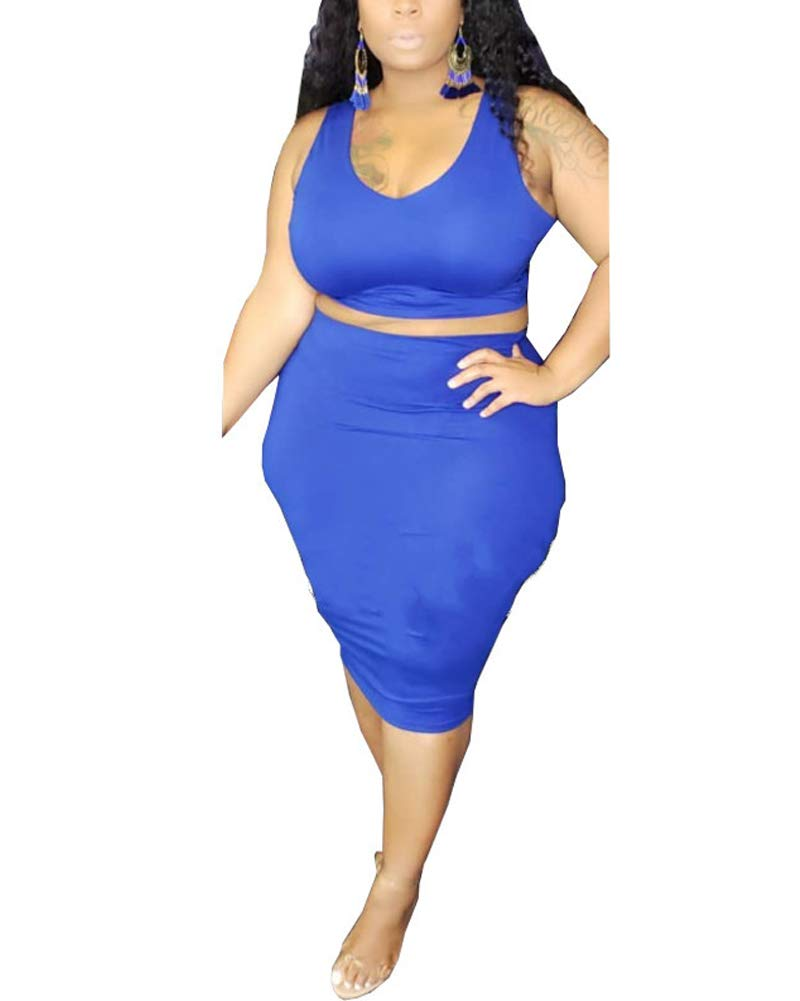 Available at Amazon: Plus Size Two Piece Outfits for Women - Bodycon Dress Tank Crop Top 2 Piece Midi Skirt Outfits Set