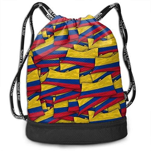 Sac à cordon décontracté Colombie drapeau vague sac à dos avec compartiment, sac à dos pliable à cordon pour hommes femmes filles garçons étudiants adolescents