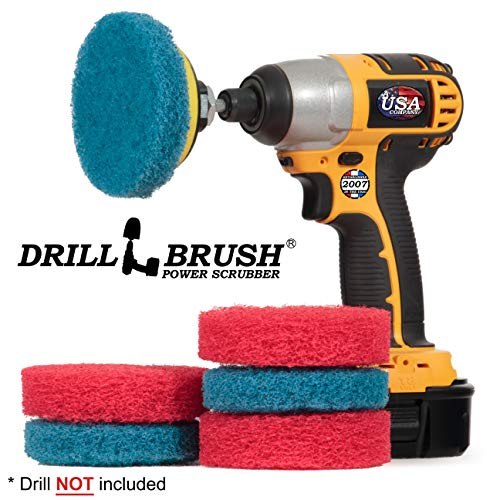 Cordless Drill Attachment - Scrub - Scour- Drill Pads - Hard Water Stain Remover - Soap Scum - Mold - Mildew - Mineral - Rust - Calcium - Limescale - Acid Rain - Pool Tile - Granite - Shower Doors