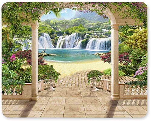 Lovely Terrace with Views of Waterfall Sea Flowers and Arches Rectangle Non-Slip Rubber Mousepad Mouse Pads/Mouse Mats Case Cover for Office Home Woman Man Employee Boss Work