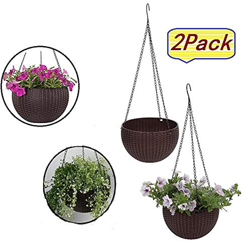 CleanLove Plastic Resin Chain Basket, Hanging Basket Rattan Plastic Flower Pot,Hanging Planter Hanging Flowers and Plants Basket self Watering Indoor Outdoor