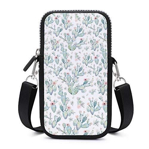 Handy-Umhängetasche mit abnehmbarem Schultergurt, kleine Kaktusen, schweißfest, Tasche für Geldbörse, Lauftaschen für Herren