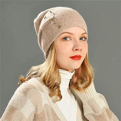 Dingyi Sombrero de Invierno Beanie Tejido Liso Otoño Invierno Cálido Esquí Suave Slouchy Gorros Mujeres Sombreros de Calle