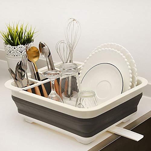 Escurreplatos plegable con escurridor – Juego de escurridor plegable para secado portátil, organizador de vajilla, ahorro de espacio bandeja de almacenamiento de cocina