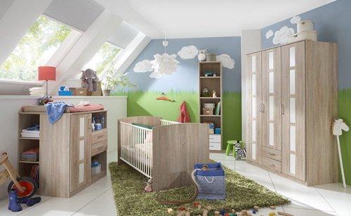 lifestyle4living Babyzimmer Komplett-Set in Eiche-Sägerau-Nachbildung und weiß, 6-TLG. höhenverstellbar, modernes Kinderzimmer für Jungen und Mädchen, zeitlos